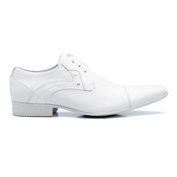 da80a3460b Sapato Social Masculino Amarrar Bico Fino Couro Legítimo - Branco ...