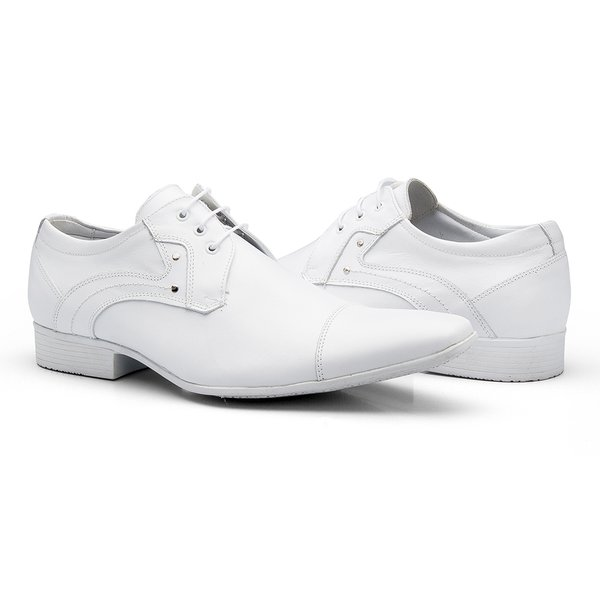 1ad751cf25c61 Sapato Social Masculino Amarrar Bico Fino Couro Legítimo - Branco | TCHWM  SHOES