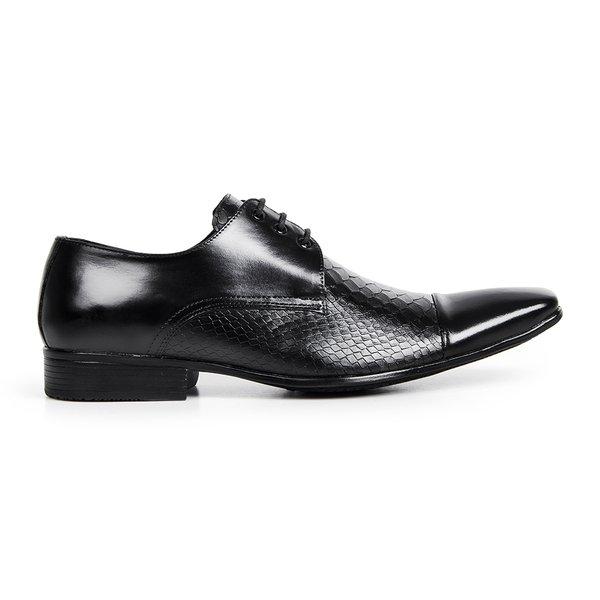 8aab40475 Sapato Social Masculino Confort Fico Fino Couro Legítimo - Preto ...