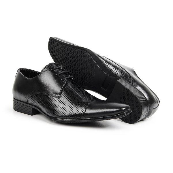 d7eced914 Sapato Social Masculino Furos Bico Fino Couro Legítimo - Preto   TCHWM SHOES