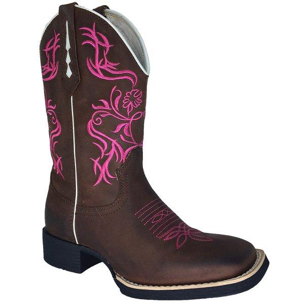 86a4f89004 Bota Texana Feminina em Couro Legítimo Bico Quadrado Bordado Tribal Rosa  TexasKing