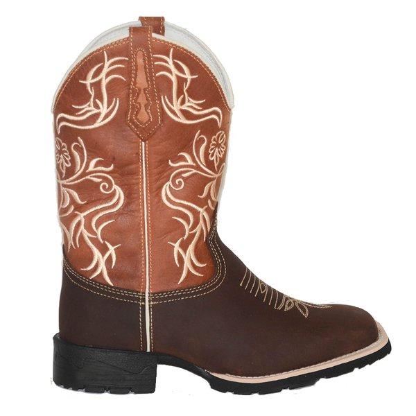 b40527f7a6 Bota Texana Feminina em Couro Legítimo Bico Quadrado Caramelo TexasKing