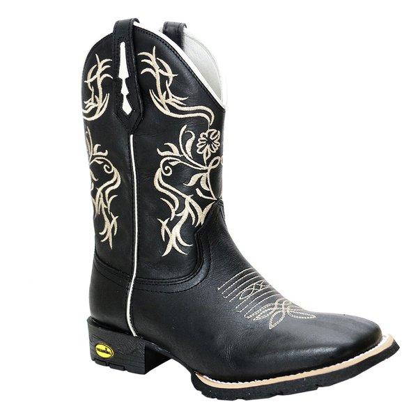 3eb171faac Bota Texana Feminina em Couro Legítimo Preta Bordado Bege Bico Quadrado  TexasKing