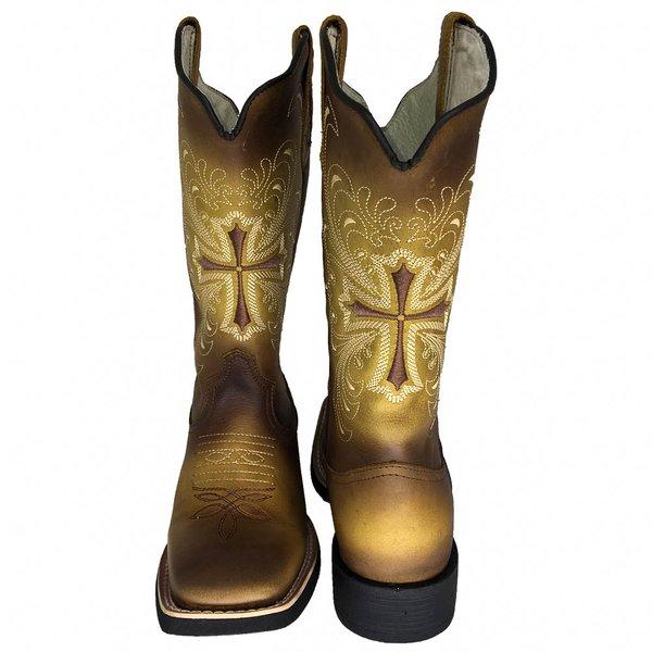 1ab63e44f Bota Texana Feminina Hopper em Couro Legítimo Envelhecida Cruz TexasKing |  TEXASKING