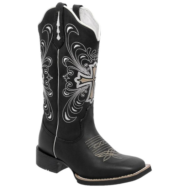 5a726020a Bota Texana Hopper Feminina Cruz em Couro Legítimo Bordado Bege TexasKing