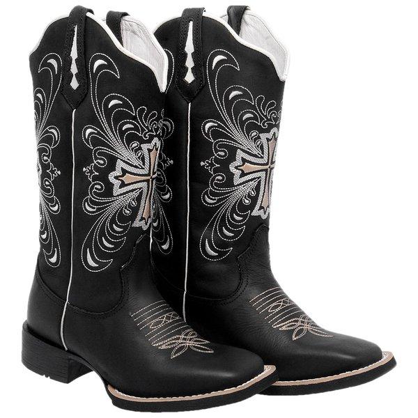 73bfcd117 Bota Texana Feminina Hopper Cruz em Couro Legítimo Bordado Bege TexasKing |  TEXASKING