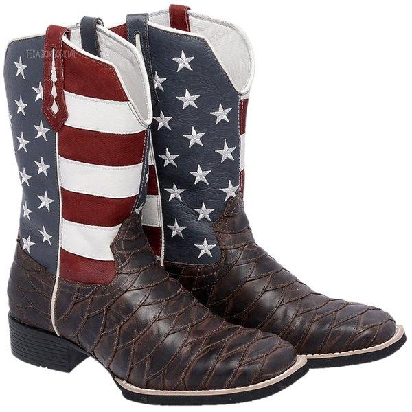 6d3db93421 Bota Texana Masculina Estados Unidos Escamada em Couro Legítimo TexasKing