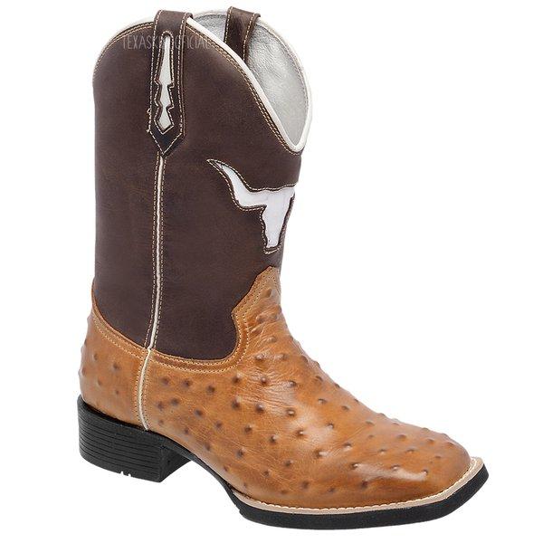 475f0423076 Bota Texana Masculina Replica de Avestruz Marrom Couro Legítimo Bico  Quadrado Copia