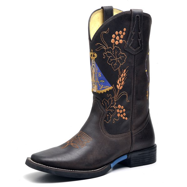 8d089b3536 Bota Country Texana Nossa Senhora Aparecida Crazy Horse Cafe   Chocolate