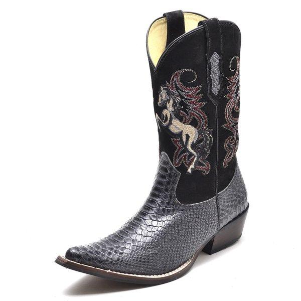 14883b765 Bota Country Bico Fino Top Franca Shoes Anaconda Grafite / Preto