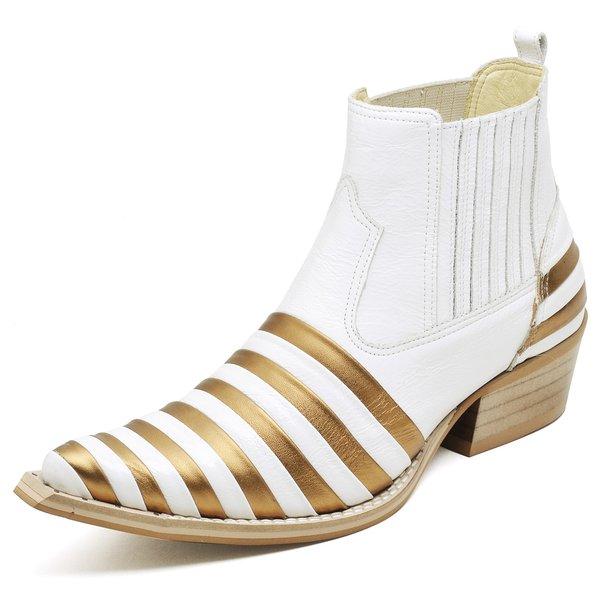 8ac994be3 Botina Bota Country Bico Fino Top Franca Shoes Verniz Dourado / Branco