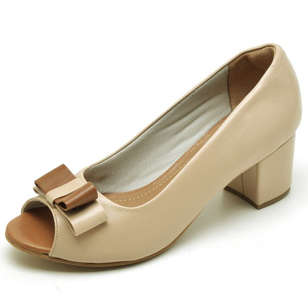 39c58821ac Sapato Social Feminino Peep Toe Work Nude | TOP FRANCA SHOES