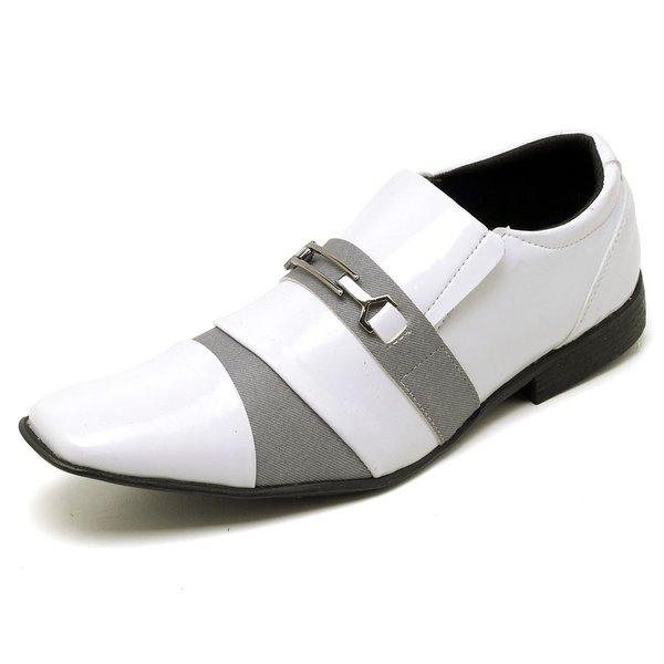 d5a8af5a4 Sapato Social Masculino Top Franca Shoes Verniz Branco / Cinza | TOP ...