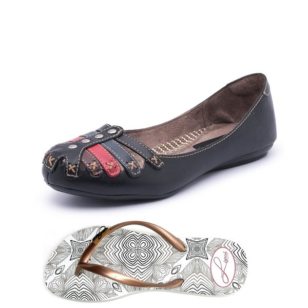 a13c2efa9 Kit Sapatilha e Chinelo Top Franca Shoes Preto