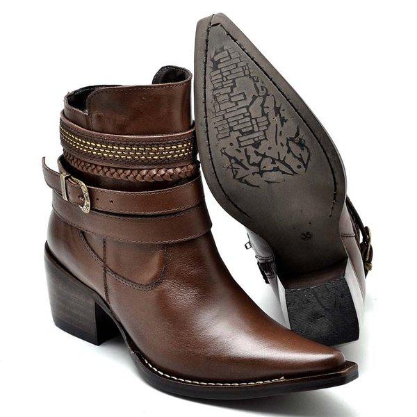 c4f405c9c Bota Country Feminina Bico Fino Top Franca Shoes Caramelo