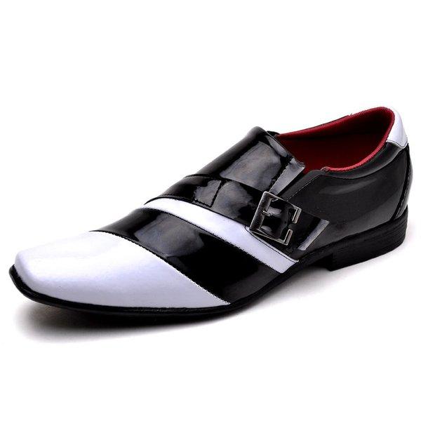 8bb25607c9 Sapato Social Masculino Verniz Bicolor Branco e Preto | TOP FRANCA SHOES