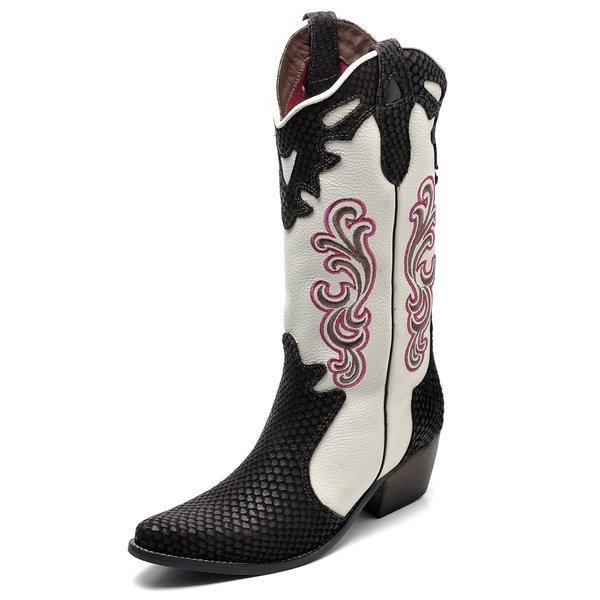 b620a9e08 Bota Country Feminina Bico Fino Top Franca Shoes Cafe / Gelo | TOP ...