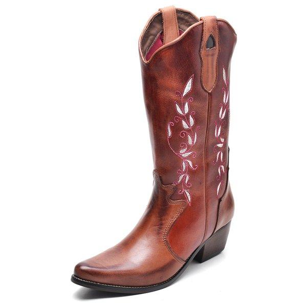 b895b77b1 Bota Country Feminina Bico Fino Top Franca Shoes Mel / Conhaque ...
