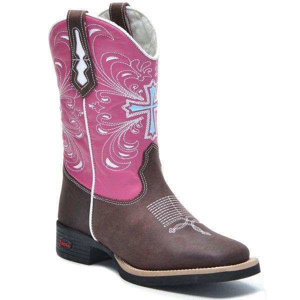 265fd6c92 Bota Texana Tróia Bico Quadrado Cano Médio Cor Crazy Horse Café Rosa Pink -  Bordado