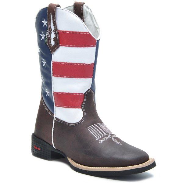 8ac22b76e Bota Texana Tróia Bico Quadrado Americana Cano Médio Cor Crazy Horse Café -  Bandeira Estados Unidos