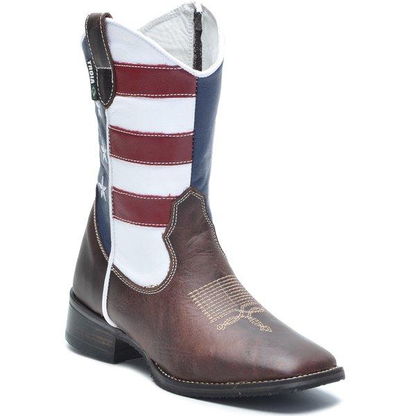004582a23 Bota Texana Infantil Tróia Bico Quadrado Americana Cano Médio Cor Crazy  Horse Café - Bandeira Estados