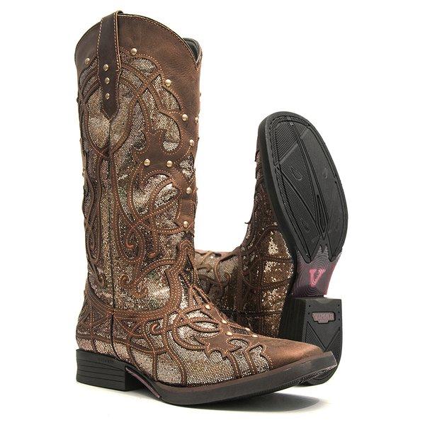Bota Texana Feminina - Dallas Castor / Craquelê Bronze - Roper - Bico Quadrado - Cano Longo - Solado Freedom Flex - Vimar Boots - 13089-A-VR