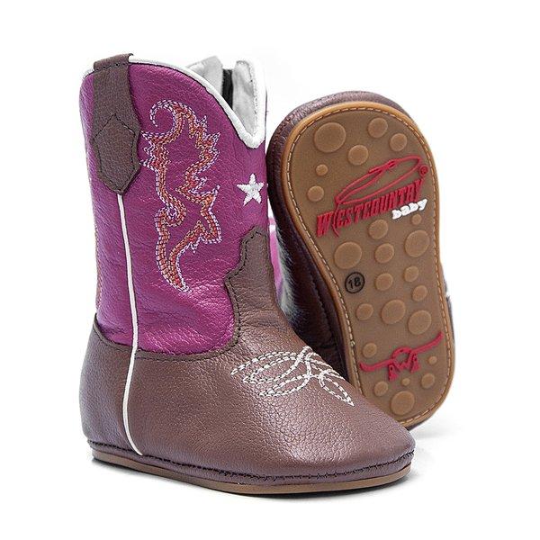 Bota Texana Baby - Fly Havana / Pink - Solado Bolha Natural - Bico Redondo - Cano Longo - West Country - WCB-1001-A