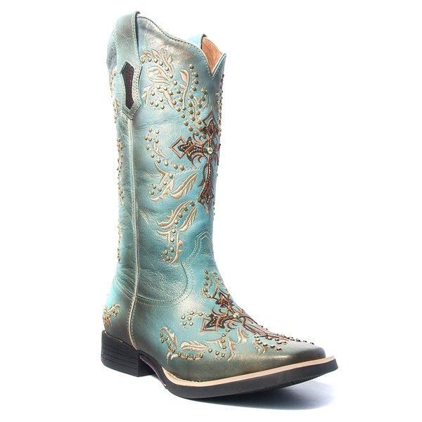 986778720b2ef Bota Texana Feminina - Fóssil Flex Azul Dourado / Café - Roper - Bico  Quadrado -