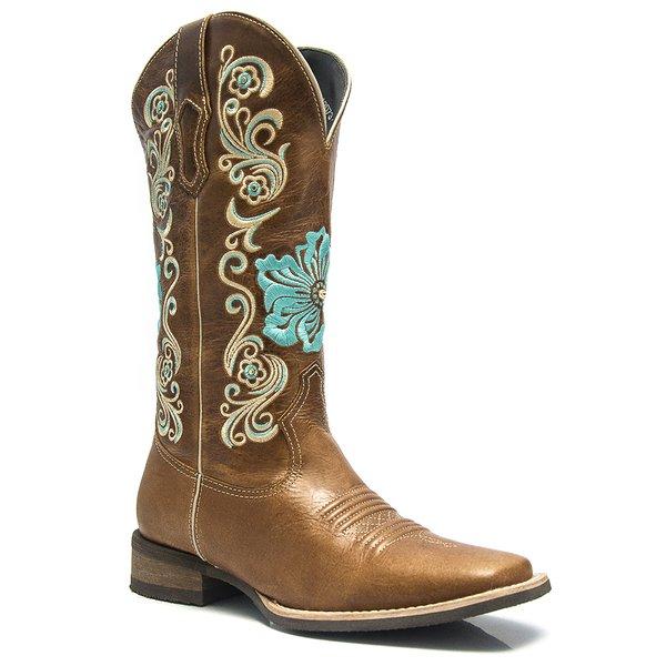0fda4f19db Bota Texana Feminina - Fóssil Caseína Caramelo - Roper - Bico Quadrado -  Cano Longo -