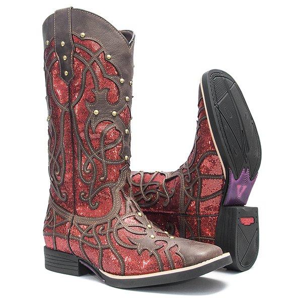 Bota Texana Feminina - Vecchio Café / Craquelê Vermelho - Roper - Bico Quadrado - Cano Longo - Solado Freedom Flex - Vimar Boots - 13089-H-VR