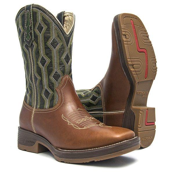 Bota Texana Masculina - Pull-up Havana / Chumbo - Roper - Bico Quadrado - Cano Médio - Solado Strong Shock - Vimar Boots - 81227-A-VR