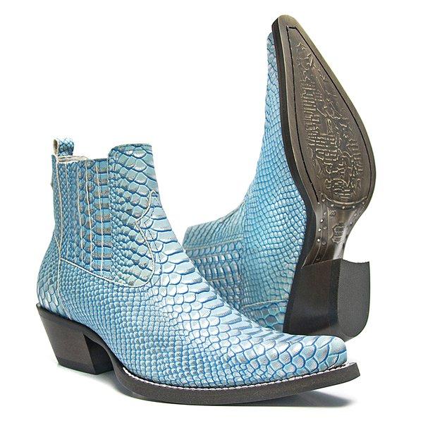 Botina Masculina - Anaconda Blue Sky - Western - Bico Fino - Cano Curto - Solado Colorplac - Vimar Boots - 82038-A-VR