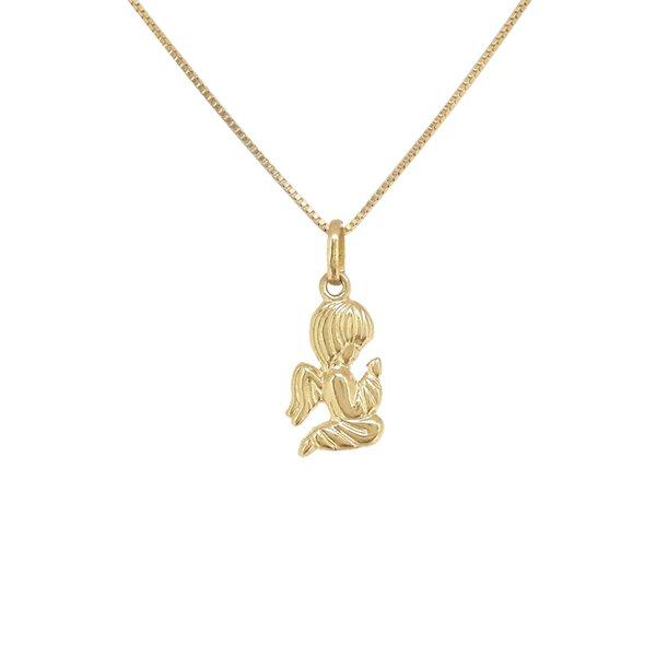 Pingente anjo da guarda ajoelhado em ouro 18K