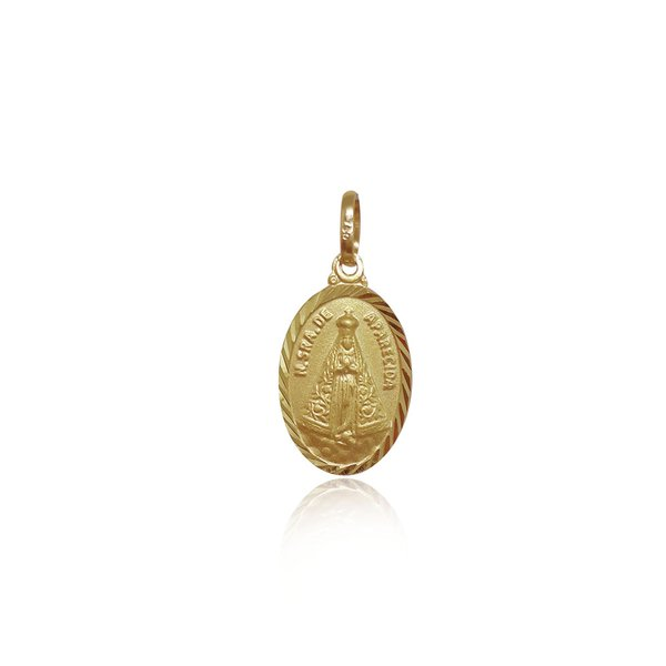 Pingente de Nossa Senhora aparecida Oval em ouro 18k