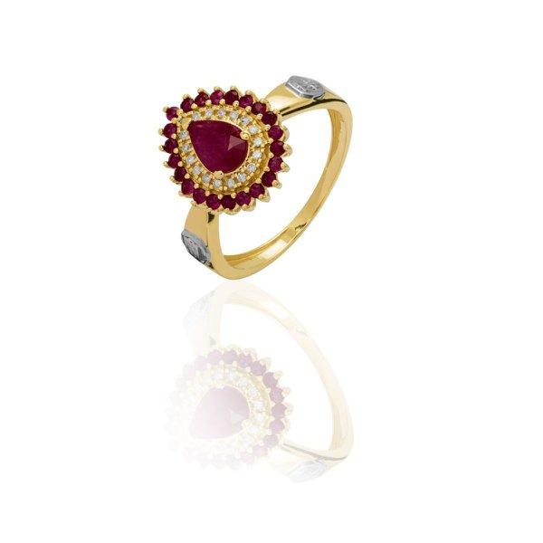 Anel de Formatura em Ouro 18k amarelo com Diamantes e Pedra Natural