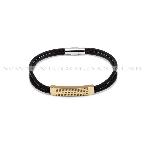 Pulseira design italiano de Couro duplo preto com placa em metal Plated Gold