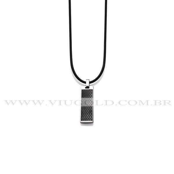 Cordão design italiano de Silicone com Pingente Aço com detalhe Plated Black