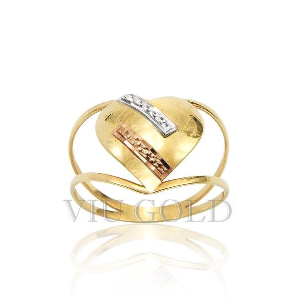 Anel aro duplo de coração em ouro 18k amarelo, branco, e rose