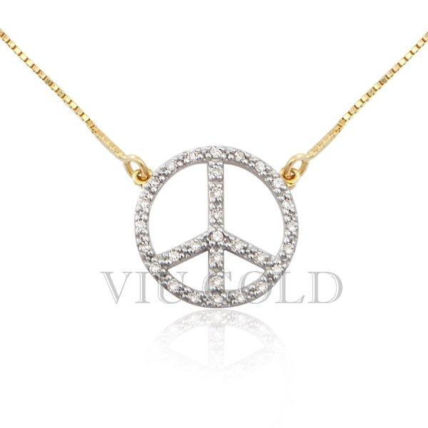 Gargantilha símbolo da Paz em ouro 18k amarelo e branco com Diamantes