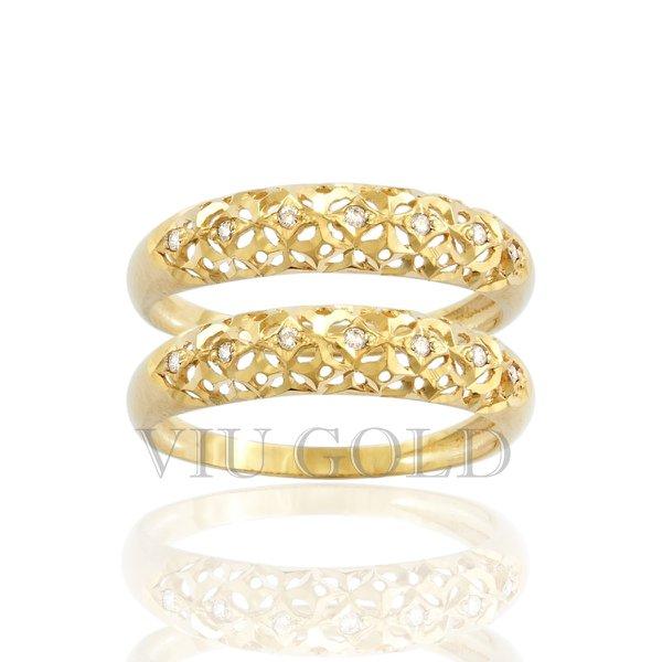 Aparador em ouro 18k amarelo com Diamantes e detalhes vazados