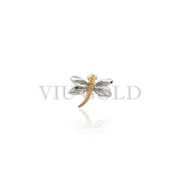 Pingente Libelula em ouro 18K amarelo, branco