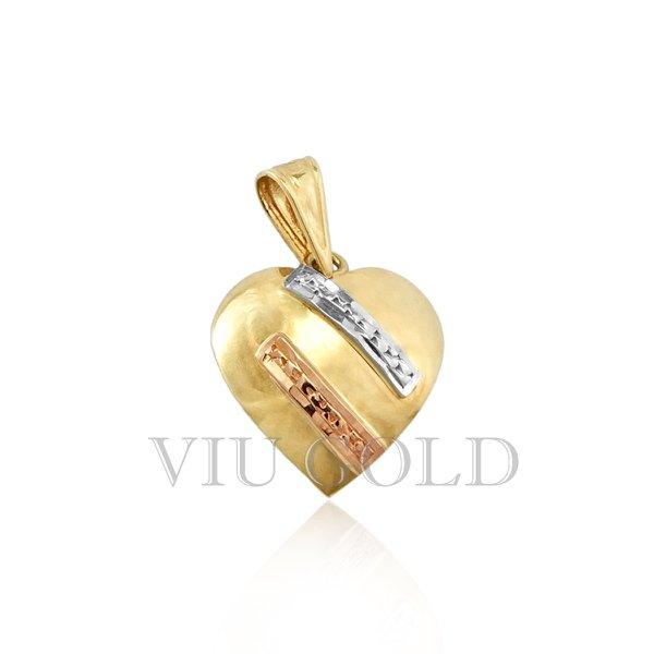 Pingente coração em ouro 18K amarelo, branco, e rose