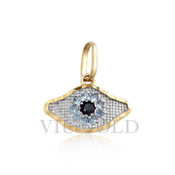 Pingente olho grego em ouro 18K amarelo, e branco com safira azul centro e água marinha sintética