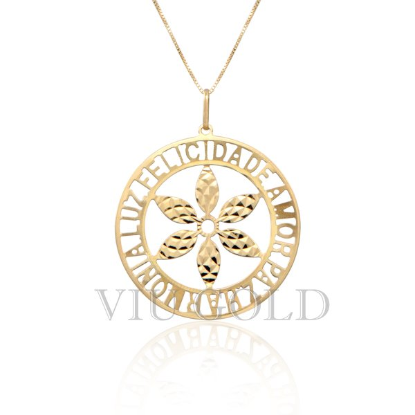 """Pingente Mandala """"Felicidade, Amor, Paz, Harmonia, Luz"""" em ouro 18K amarelo"""