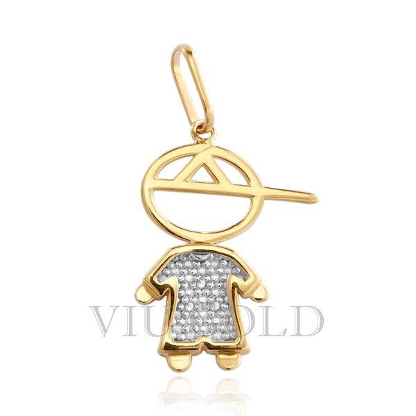Pingente de Menino em ouro 18k amarelo, branco com Diamantes