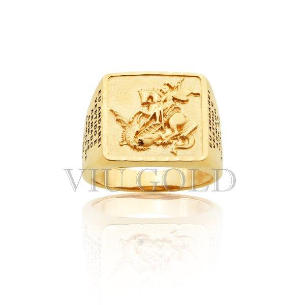 Anel de São Jorge com oração em ouro 18K amarelo