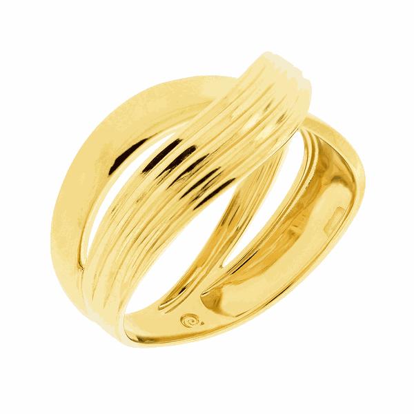 Anel com Filetes Transpassado em Ouro 18K