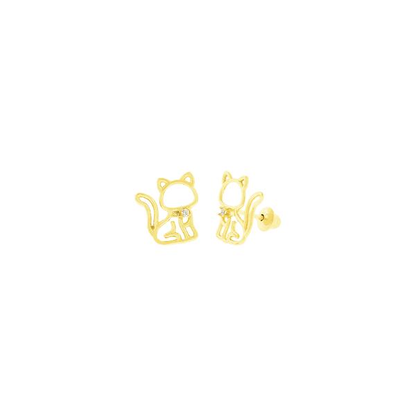Brinco de Ouro 18K Gato com Zirconia