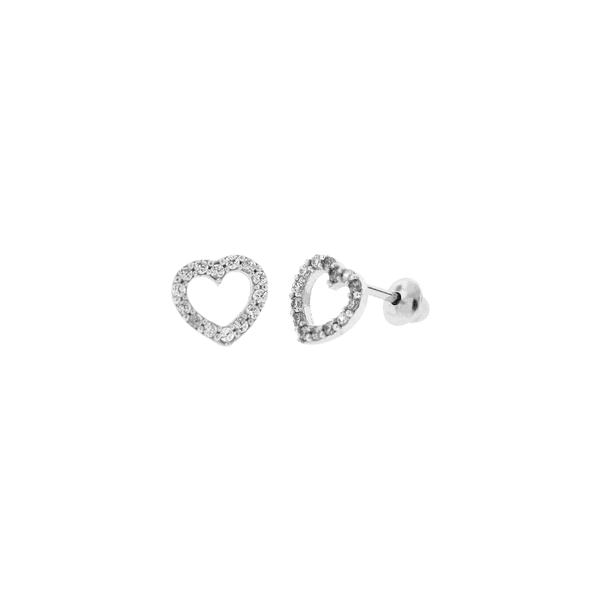 Brinco de Coração em Ouro Branco 18K com Pedras Zircônias