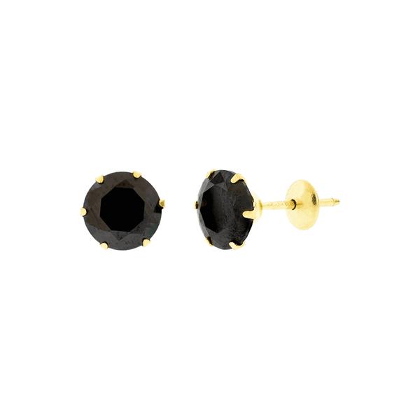 Brinco de Ouro 18K Zircônia Negra 6mm